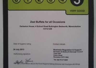 Image of 5 star Food Hygiene Rating Certificate for the Volunteer Friends kitchen.